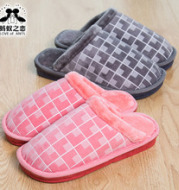 Warm cotton slippers in autumn new lovers cotton towing 6022 winter men's home women lattice slippers wholesale