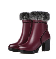 Winter new low-key luxury fashion leather women's boots first layer cowhide warm plus velvet high-heeled women's winter cotton boots
