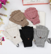 Autumn and winter Korean women's lovely five finger thin sweater knitted gloves in winter with students writing half fingers