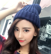 Cute fluffy wool knitted hat