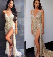 V-neck sexy halter strap sequin dress
