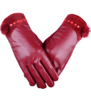 PU touch screen ladies leather gloves