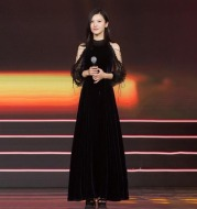 Yang Zikai baby Yang Ying with velvet women's off-the-shoulder dress skirt long dress dress