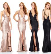 2021 evening dress slitted halter strap sexy nightclub sequin dress deep V sequin dress