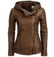 Fashion Hooded Long Sleeve Leather Jacket