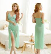 Light green fashion color long dress ladies pajamas