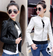 Korean women's skinny motorcycle leather jacket