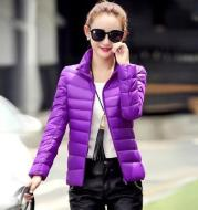 Lightweight short slim down jacket with stand-up collar