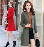 Women's woolen coat slim slim coat