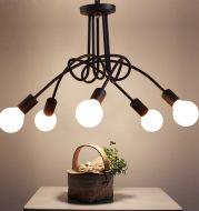 Iron Art Creative Minimalist  Ceiling Lamp Iron Tube Chandelier