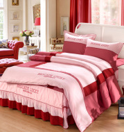 Solid color cotton bed skirt set of four
