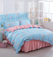 Korean version of thickened milled and cotton bed skirt with four-piece folder cotton thickened bed head cover