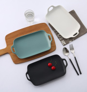 Japanese simplified double ear grill household ceramic tableware
