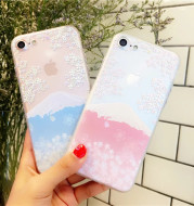 Hot selling Mtcherry blossoms iphone7 6S mobile phone shell 7/7 plus protective sleeve transparent super thin lovers