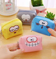 Funny Expression Square PU Leather Coin Bag