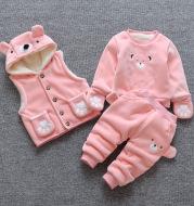 Children's clothing plus velvet thick three-piece suit