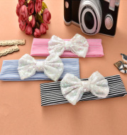 Cotton sequined bow headband