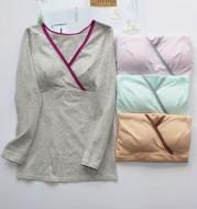 Women's pure cotton breastfeeding cross feeding dress, long sleeved V collar T-shirt home dress for pregnant women