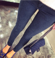 Autumn and winter with thick velvet maternity denim trousers 2021 new backing denim washing fry jeans