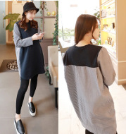 Korean pregnant women in spring and autumn, new lactation dress and striped shirt dress