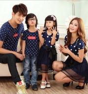 Korean version of cotton parent-child summer dress