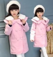 A woolen coat 2017 winter coat girls warm woolen long fur coat new woolen winter