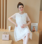 Summer new maternity dress Korean shirt lace crochet flower maternity dress long pregnant women dress