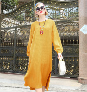 Winter warm solid color knit sweater dress long sleeve large size fat sister dress maternity dress