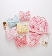 Flannel thickening girls' flannel autumn children's pajamas