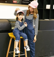 Fashion mother and daughter jeans with straps