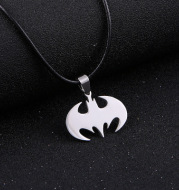 Men's stainless steel bat necklace