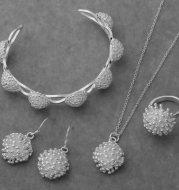 Bracelet pendant necklace ring earring four piece set