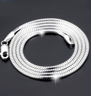 Sterling Silver Plated platinum necklace chain jadoku men clavicle silver chain Korean fashion collar men and women lovers of silver