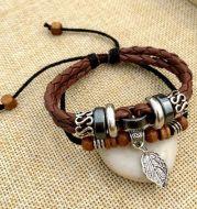 Cross stud braided leather bracelet