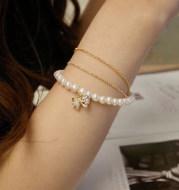 Ladies multilayer pearl bow bracelet