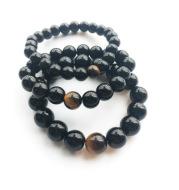 Black Agate Loose Bead Yellow Tiger Eye Bracelet