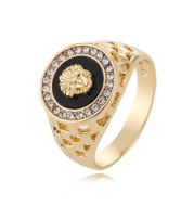 European and American lion head ring with diamonds