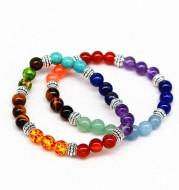Reiki ancient silver natural stone agate tiger colorful crystal bracelet seven chakra Yoga Bracelet