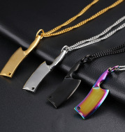 Men's Stainless Steel Necklace, Colorful Glare Classic Pendant
