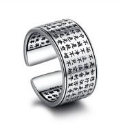 Tibetan Heart Sutra Silver Ring