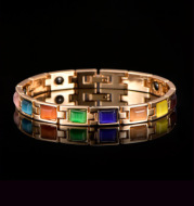 Gold-plated opal and turquoise magnet health bracelet