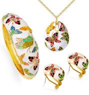 Enamel colorful butterfly necklace earrings bracelet