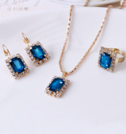 Crystal bridal necklace earring ring three piece set