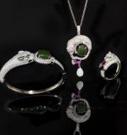 Silver inlaid jade jewelry set