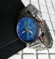 Steel strap three-eye six-hand watch