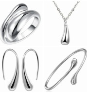 Four-piece silver water drop set