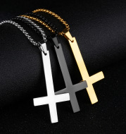 Men's stainless steel inverted cross necklace