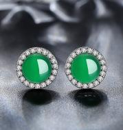 Natural Chalcedony Stud Earrings
