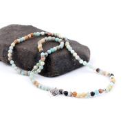 108 Natural Stone Rosary Bracelet Alloy Necklace