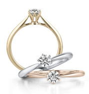 Diamond-encrusted simulation diamond ring Gold-colored rose gold wedding diamond female ring